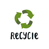 Vector inscription recycie and green arrows sign in a circle. A badge for a product, a product that will be recycled and will not pollute the environment.