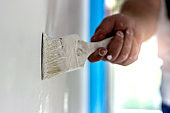 Painting apartment, renovating with white color.