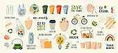 A collection of vector illustrations by Zero Waste. Eco icons with earth, bicycle, nature of plants isolated on light Glass jars, ecological grocery bags, wooden cutlery, menstrual cup, thermomug