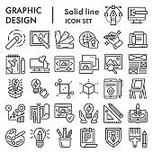 Graphic design line icon set, art tools symbols collection, vector sketches, logo illustrations, drawing equipment signs linear pictograms package isolated on white background, eps 10.