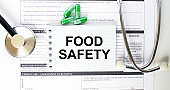 Text Food Safety in a notebook on medical forms with a phonendoscope and green pills
