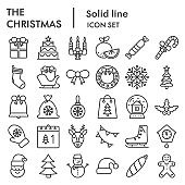 Christmas line icon set. Winter holiday collection or sketches, symbols. New year signs for web design and mobile app, outline style pictogram package isolated on white background. Vector graphic.