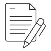 List and pen thin line icon. Papers with pen vector illustration isolated on white. Note outline style design, designed for web and app. Eps 10.