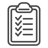 Checklist line icon. List vector illustration isolated on white. Checkboard outline style design, designed for web and app. Eps 10.
