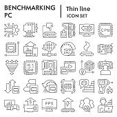 Benchmarking thin line icon set. Technology and computer signs collection, sketches, logo illustrations, web symbols, outline style pictograms package isolated on white background. Vector graphics.
