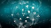 3D illustration international communication and advanced internet network .