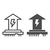 CPU power consumption line and solid icon. Microchip and up arrow with energy symbol, outline style pictogram on white background. Benchmarking sign for mobile concept and web design. Vector graphics.