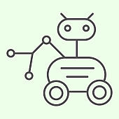 Lunar Rover thin line icon. Moon exploration robot vehicle or moonwalker outline style pictogram on white background. Universe and space signs for mobile concept and web design. Vector graphics.