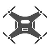 Robot Quadcopter solid icon, Robotization concept, aerial drone for photography or video surveillance sign on white background, Quadcopter icon in glyph style for mobile. Vector graphics.