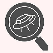 Search scan for ufo glyph icon. Spaceship and lens, magnifier. Astronomy vector design concept, solid style pictogram on white background, use for web and app. Eps 10.