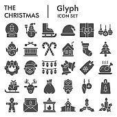Christmas glyph icon set. Holiday and new year collection, vector sketches, logo illustrations, web symbols, solid pictograms package isolated on white background, eps 10.