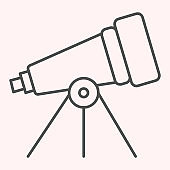 Telescope thin line icon. Space science inventory item. Astronomy vector design concept, outline style pictogram on white background, use for web and app. Eps 10.