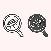 Search scan for ufo line and glyph icon. Spaceship and lens, magnifier. Astronomy vector design concept, outline style pictogram on white background, use for web and app. Eps 10.