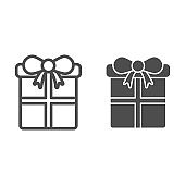 Gift with bow line and solid icon. Christmas present box outline style pictogram on white background. New Year holiday giftbox for mobile concept and web design. Vector graphics.