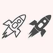 Rocket line and glyph icon. Spacecraft flies in atmosphere, successful launch. Astronomy vector design concept, outline style pictogram on white background, use for web and app. Eps 10.