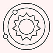 Solar system thin line icon. Planets and sun. Astronomy vector design concept, outline style pictogram on white background, use for web and app. Eps 10.