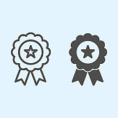 Medal line and solid icon. Award with star shape in center, badge with ribbons. Sport vector design concept, outline style pictogram on white background, use for web and app. Eps 10.