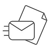 Sending mail thin line icon. Sending a letter vector illustration isolated on white. Envelope with paper to send outline style design, designed for web and app. Eps 10.