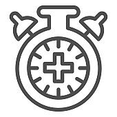 Match extra time line icon. Overtime game, stopwatch or timer symbol, outline style pictogram on white background. Sport sign for mobile concept and web design. Vector graphics.