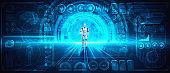 3D rendering robot humanoid analyzing big data using AI thinking