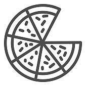 Pizza line icon. Cut Pizza without one slice illustration isolated on white. Junk food Pizza outline style design, designed for web and app. Eps 10.