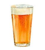 American pint craft beer. Watercolor illustration with gold beer mug. Concept art. Watercolour bar, pub or restaurant menu design