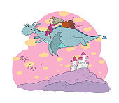 The princess is flying on a dragon. Queen and dinosaur.
