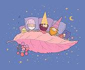 Three gnomes sleep under the leaf. Forest elves