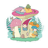 Сute cartoon gnomes. Forest elves. Fairy tale characters.