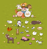 Cute cartoon farmer and animals. Country man and cow, horse and sheep, chicken and goose, pig and rooster.