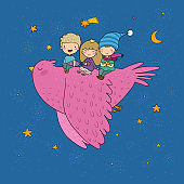 Cute cartoon kids are flying on a bird. Funny gnomes and princess. Little elves. small children.