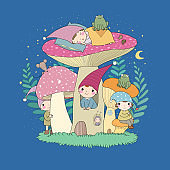 Cute cartoon gnomes, mushroom house and frog. Forest magic elves.