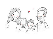 A happy family. Parents with children. Cute cartoon dad, mom, daughter, son and baby.