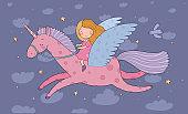 Cute cartoon girl flies on a pegasus. Princess and unicorn