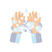 Washing hands concept. Washing hands with soap. Prevent virus concept.Vector illustration.