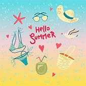 Hello summer. Biniki, sunglasses and ice-cream. Greeting card. Vector illustration