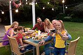 Happy Caucasian family taking a selfie