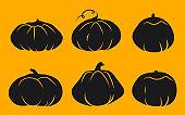 Autumn pumpkin glyph icon Halloween vector set