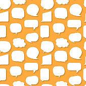 Speech bubble seamless pattern white flat vector