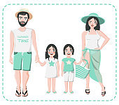 Parents with boy and girl in shorts, pareo, swimwear, hat. vector illustration isolated. Happy european family portrait. Mother, father, daughter, son, twins.