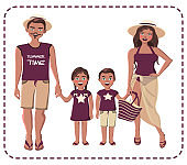 Parents with boy and girl in shorts, pareo, swimwear, hat. vector illustration isolated. Happy latin family portrait. Mother, father, daughter, son, twins.