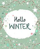 Winter Season Banner with Snowflakes, Branches and Winter Colors