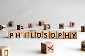Philosophy - words from wooden blocks with letters