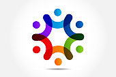 Teamwork people holding hands icon vector image