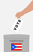 Hand putting paper in the ballot box. Vote in November to decide whether Puerto Rico should become a U.S. state