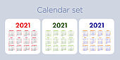 Calendar 2021 year set. Vector pocket or wall calender template collection. Simple color design. Week starts on Sunday