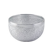 Silver color water bowl in Thai style used in religious ceremonies isolated on white