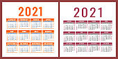 Calendar 2021 year set. Vector pocket or wall square calender design template collection. January, February, March, April, May, June, July, August, September, October, November, December