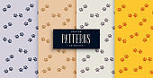 repeated dog or cat paw print pattern set