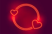 neon red two heart frame with text space